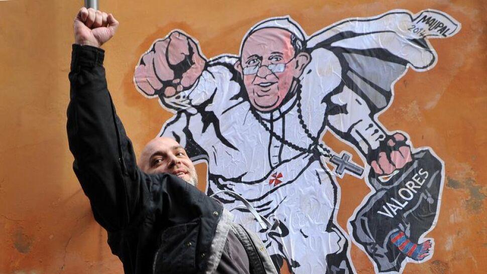 Usun li mu mural w rzymie namaluje co w poznaniu for Mural z papiezem franciszkiem