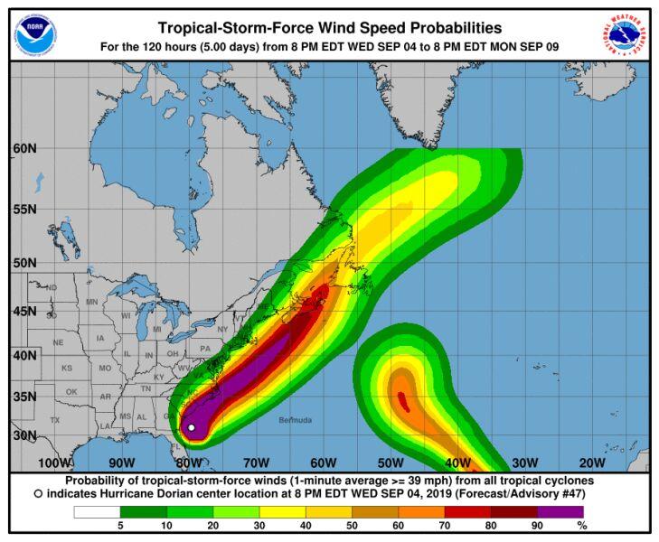 Prognozowane opady w Dorianie (NHC)
