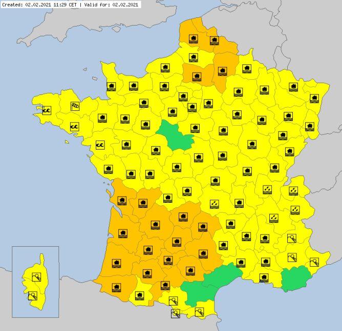 Ostrzeżenia meteorologiczne dla Francji