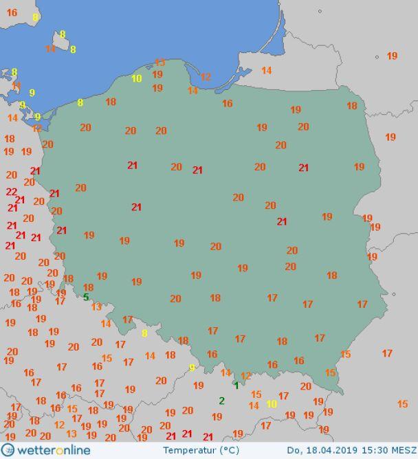 Temperatura powietrza 18 kwietnia o godzinie 15.30 (wetteronline.de)