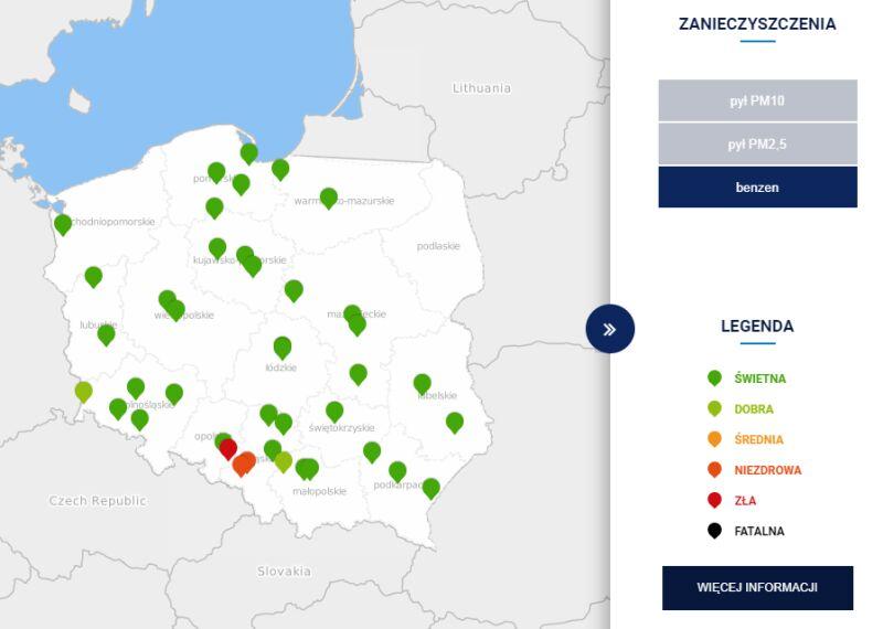 Stężenie benzenu w Polsce po godzinie 7 (GIOŚ/TVN Meteo)
