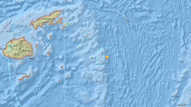 Trzęsienie ziemi w pobliżu Fidżi. <br />Miało magnitudę 8.2