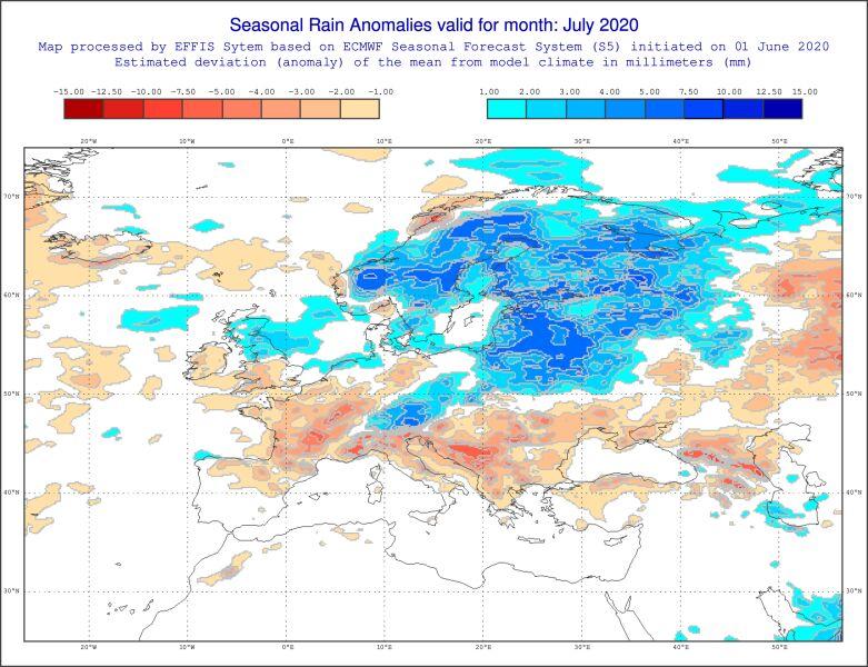 Prognozowane odchylenie sumy opadów miesięcznych lipca od normy (ECMWF)