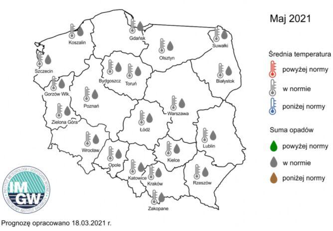 Prognoza średniej miesięcznej temperatury powietrza i miesięcznej sumy opadów atmosferycznych na maj 2021 r. dla wybranych miast w Polsce (IMGW)