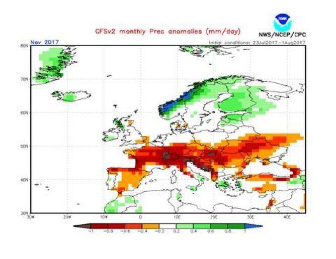 Opady w listopadzie 2017 w normie i poniżej normy