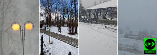Śnieg, krupa śnieżna. Biało w części kraju